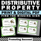 Distributive Property Multiplication Task Cards, 6th Grade Math Review Games