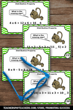 Distributive Property Task Cards, Find the Missing Sign, 6th Grade Math Review