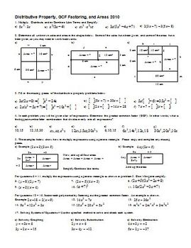 Distributive Property, GCF factoring, and Areas 2010