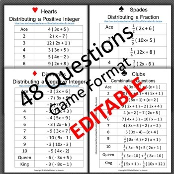 Distributive Property: EDITABLE 48 Ques 7.EE.A.1 STUDENTS SELF CHECK THE ANSWERS
