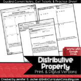 Distributive Property Guided Cornell Notes | Printable | D