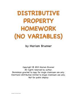 Distributive Property Homework - No Variables