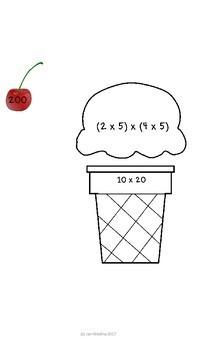Distributive Property Ice Cream Math No Prep! Center/Notebooks/Bulletin Board