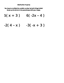 Distributive Property Interactive Notebook Page