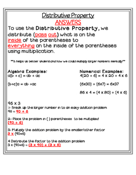 Distributive Property Interactive Notes