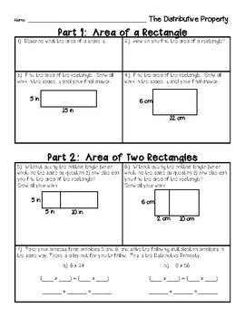 Distributive Property Introductory Activity