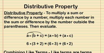 Distributive Property Lesson Presentation