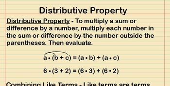 Distributive Property Lesson Presentation
