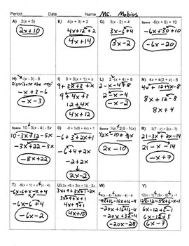 Distributive Property/Like Terms Riddle: Sheet, Key & Worked-Out Solutions