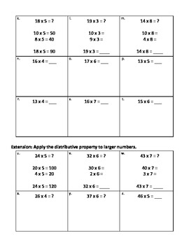 Distributive Property - MCC3.OA.5 Apply Properties of Operations to Multiply