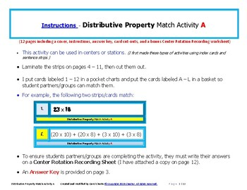 Distributive Property Match Activity A