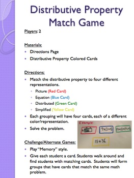 Distributive Property Match Game