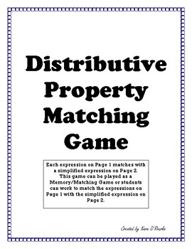 Dollar Deal! Distributive Property Matching Game