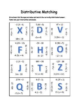 Distributive Property Matching Squares