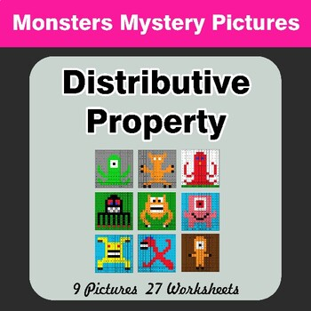 Distributive Property - Math Mystery Pictures / Color By Number - Monsters