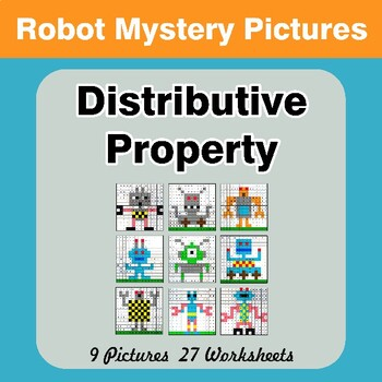Distributive Property - Math Mystery Pictures / Color By Number - Robots