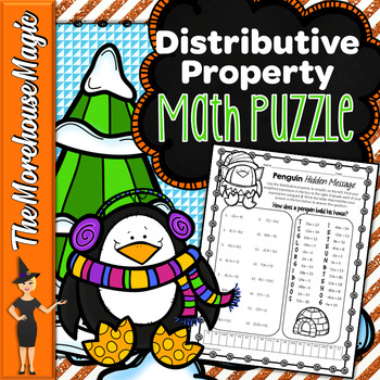 Distributive Property Math Puzzle - Penguins!