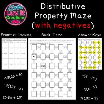 Distributive Property With Negatives 2 Mazes Great Math Review for end of year