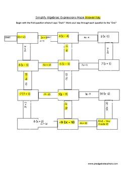 Distributive Property Maze Activity