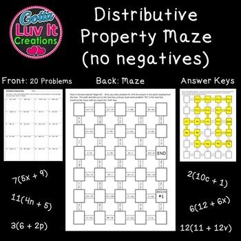 Distributive Property No Negatives - 2 Mazes