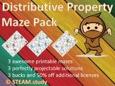 Distributive Property Maze Pack for Grade 6, Grade 7, Grade 8