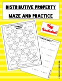 Distributive Property Maze and Worksheet