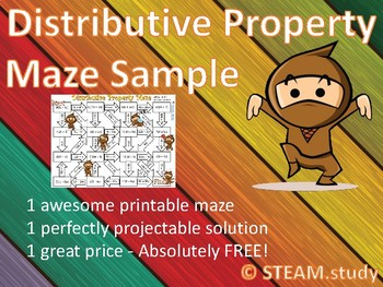 Distributive Property Maze for Grade 6, Grade 7, Grade 8