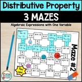 Distributive Property Mazes with Integers - No Prep