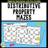 Distributive Property Mazes with Integers - No Prep