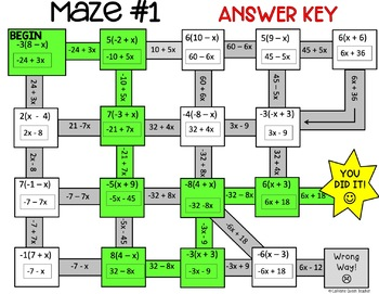 Distributive Property with Integers Maze Activity