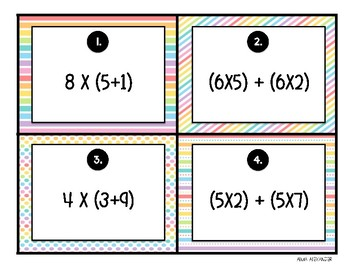 Distributive Property - Multiplication Task Cards