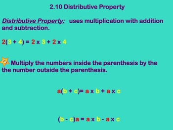 Distributive Property Notes and Assignment on Smartboard