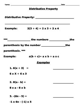 Distributive Property Notes and Assignments