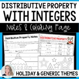 Distributive Notes Property Coloring Page with Integers