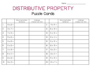 Distributive Property PUZZLE CARDS