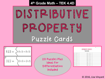 Distributive Property PUZZLE CARDS