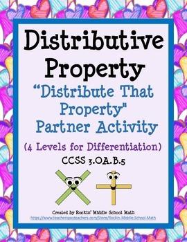 Distributive Property Partner Activity - CCSS 3.OA.B.5