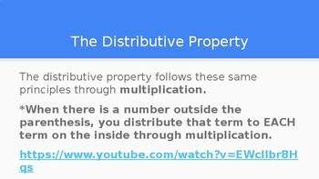Distributive Property Power Point 6.EE, 7.EE