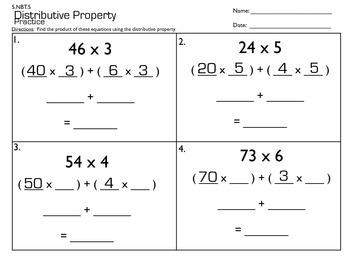 Distributive Property Practice  5.NBT.5