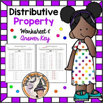 Distributive Property Practice and Answer KEY Distribute Expressions Algebra