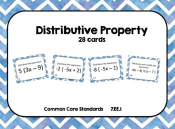 Distributive Property Practice with Negatives Task Cards