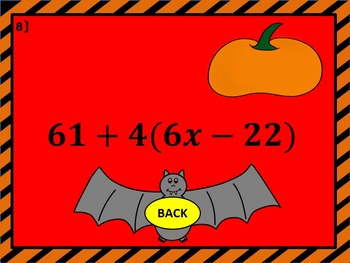Distributive Property: Pumpkin Smash Halloween PowerPoint Game