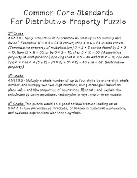 Distributive Property Puzzle, 3.OA.5, 4.NBT.5, 5.OA.1
