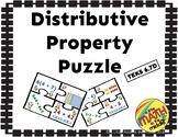 Distributive Property Puzzle Activity TEKS 6.7D
