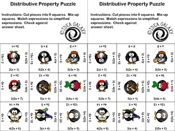 Distributive Property Puzzle FREE