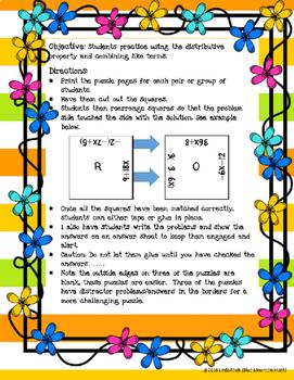 Distributive Property Puzzle Set