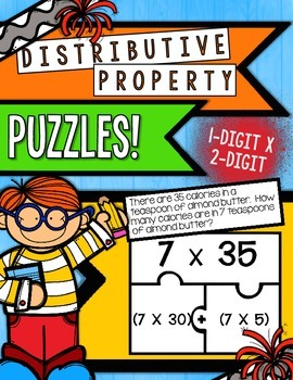 Distributive Property Puzzles - 1-digit x 2-digit numbers