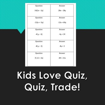 Distributive Property Quiz Quiz Trade