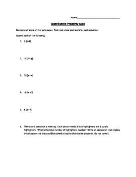 Distributive Property Quiz or Worksheet