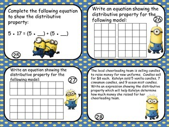 Distributive Property Review Cards-Minion Themed